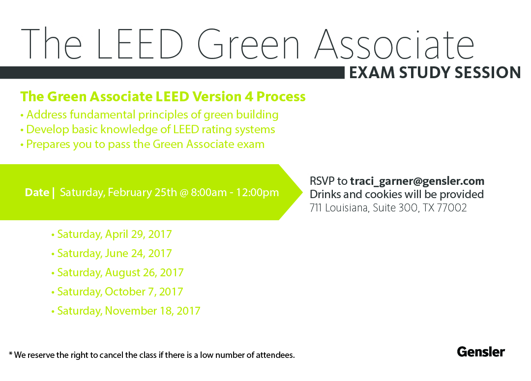 The leed green associate exam study session aia houston gensler is now offering free leed green associate classes they also have a leed exam prep clinic available upon reservation xflitez Images