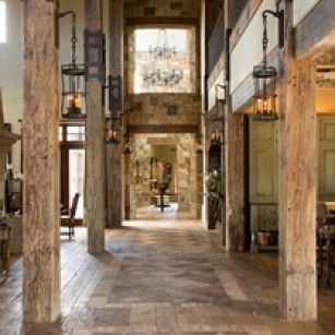 Interior of Texas lodge inspired home.