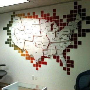 Locations US Map. Acrylic & stand offs, vinyl squares background
