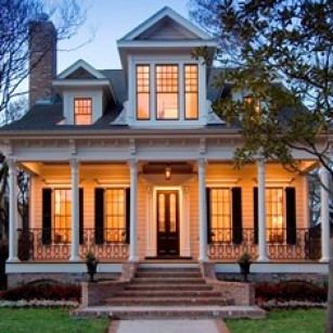 exterior heights new home- in houston- historical district.