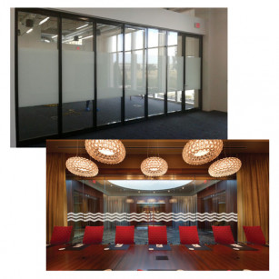 Modernfold has acoustical and non- acoustical glass wall systems.