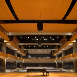 Sam Houston State University, James and Nancy Gaertner Performing Arts Center in Huntsville, TX. Photo by Aker Imaging, Houston. Architecture by WHR Architects.